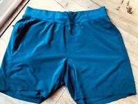 "Lululemon Mens Size L T.H.E. Short 7 "" Linerless Shorts Teal Run Yoga"