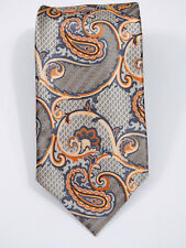 "LUXURY ERMENEGILDO ZEGNA SMOOTH SATIN PAISLEY FINE SOFT SILK TIE L 61"" X W 3.5"""