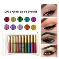 10 Color/set Deluxe Liquid Eyeliner Waterproof Long Lasting Makeup Eye Liner QRC