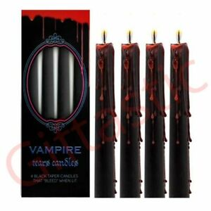 Vampire Tears Black Candles Taper Bleeding Red Wax Candle Set Of 4