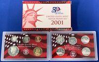 2001 S Silver Proof Set United States Mint OGP & COA