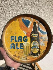 Rare Early TOOHEYS Flag Ale BEER Australian Patriotic Tray Sign - Two Sided