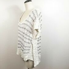 Free People Sweater Size L Ivory Beige Striped Short Sleeve Oversized Popover