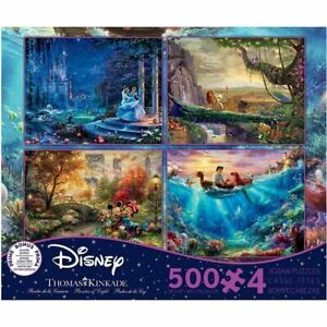 Ceaco Disney Dreams Collection 4-in-1 by Thomas Kinkade 500pc ×4 Puzzle (New)