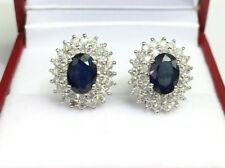 14k Solid White Gold Cluster Diamond 1.15CT Stud Earrings, Natural Sapphire 2CT