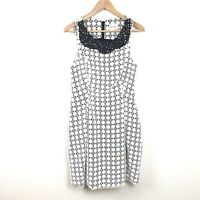 Peter Som Dress 6 White Eyelet Black Beaded Cotton Sheath Women's Pleated A Lone