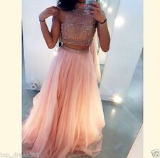 New Two Piece Long Halter Tulle Beads Evening Dress Party Pageant Ball Prom Gown