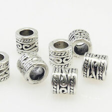 7 Metallperlen 7mm Spacer Großlochperlen altsilber Metall Beads Bastelperlen