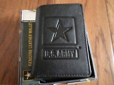 NEW U.S ARMY LEATHER TRIFOLD WALLET GENUINE BLACK COWHIDE EMBOSSED ARMY STAR