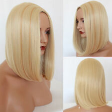 Short Blonde Bob Wig Silky Straight Heat Resistant Synthetic Wigs Fashion Women