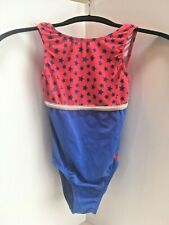 Gk Elite Gymnastics Dance Leotard size Adult Small Blue Red w/ Blue Stars