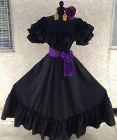 Mexican Dress Fiesta,5 De Mayo,Wedding Black 2 Piece w/Small Purple Sash