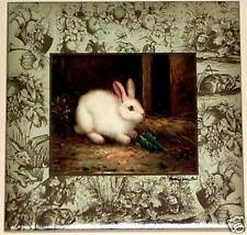 "Beautiful White Bunny Rabbit Ceramic Tile Accent 4.25"" Kiln fired Decor"
