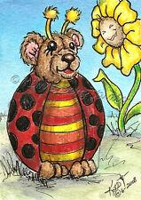 Lady Bug Teddy Bear Aceo Ebsq Kim Loberg Mini Art Fantasy Insect sun Flower sfa