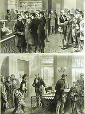 Mulberry Street NYC METROPOLITAN POLICE HEADQUARTERS Policemen 1875 Print Matted