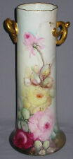 ANTIQUE PORCELAIN HP VASE ROSES CLASSIC BAVARIA GOLD 16 1/8 IN. HIGH CA1912