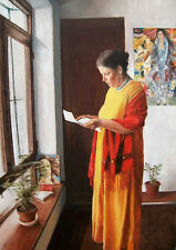"""Oil painting portraits old woman reading letters by the window free shipping 36"""""""