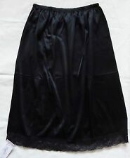 "Ladies Elasticated Waist Half Slip Petticoat With Pretty Lace Trim 25"" Long XXL"