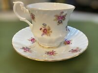 Clifton Bone China England Gold Trimmed Pink Purple Flowers Teacup and Saucer