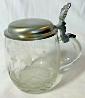 Etched Crystal Glass Stein Tankard Pewter Hinged Lid Echter Handschliff GERMANY