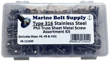 Type 316 Stainless Steel Phillips Truss Sheet Metal Screw Assortment Kit