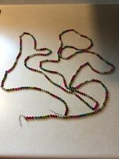 "Vtg Multi Colored Mercury Glass Bead Garland Strand Christmas Approx 108"" Triple"
