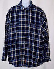 "Abercrombie & Fitch Blue Plaid Extra Large XL 56"" Flannel Button Pocket LS Shirt"