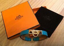Org. Hermes Hermès collier de chien MICRO BRACCIALETTO TAGLIA XS Bleu ordinatore ORO CDC Micro