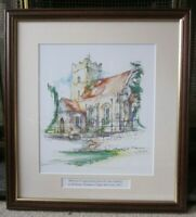 ORIGINAL WATERCOLOUR/ INK PAINTING OF ALL SAINT CHURCH IN FORDHAM ESSEX SIGNED