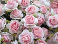 100! Cute Handmade Mulberry Paper Roses - 10mm - Pale Pink & White 2-Colour Rose