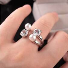 Charming Lady Open Adjustable Ring Zircon Pearls Rings Gifts For Mother's Day