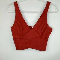 Guess Womens Size S Red Crop Tank Top Faux Wrap Exposed Zipper