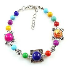 HOT Free shipping New Tibet silver multicolor jade turquoise bead bracelet S74