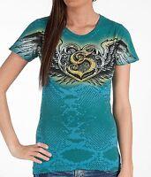 Sinful AFFLICTION Womens T-Shirt NEON Heart RHINESTONES Tattoo Biker $58