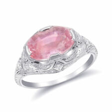 Natural Unheated Padparadscha Sapphire 3.17 carats set in Platinum Ring