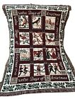 Antique French Colonial Design Tapestry Blanket  12 Days of Christmas Vintage