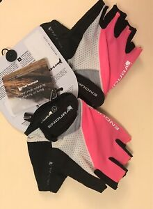 Endura Womens Xtract Mitt Cycling Gloves Lightweight Black/White/Pink Size Small