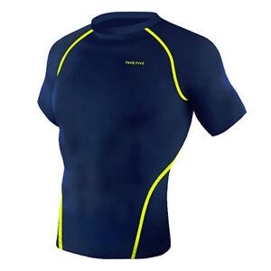 Take Five Mens Skin Tight Compression Base Layer Running Shirt S~2XL Navy NT053