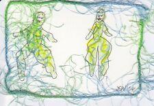 JKW 2 Big and Sexy Dancing Ladies Folk Art ACEO Original Painting