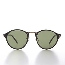 Black Round Pantos Vintage Sunglass with Metal Bridge and Green Lens - Luca