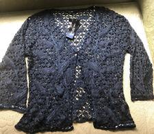 Carmen Marc Valvo Beaded Navy Blue Crocheted Jacket Large (NWT) MSRP $395
