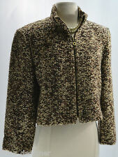 Claude Rene Jacket chunky tweed zip crop Coat shabby bouncle Blazer SZ 10 M VTG