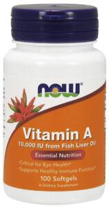 NOW Supplements Vitamin A 10,000 IU - 100 Softgels