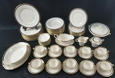 "72 Piece Syracuse China Old Ivory ""Wayne Blue"" Dinnerware Set Serving Pieces"