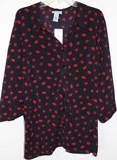 NEW $49 Women's 5X Black Red Lipstick Blouse Shirt Bust 70 Length 32 CATHERINE'S