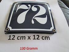 Hausnummer Emaille Nr. 72  weisse Zahl auf blauem Hintergrund 12 cm x 12 cm