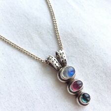 ROCK CANDY MULTI-STONE 925 STERLING SILVER TIER PENDANT NECKLACE