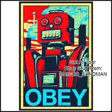 Robot Obey Science Fiction Poster 24x36 Art