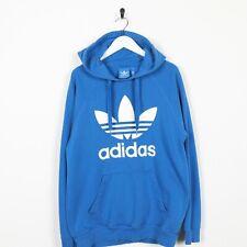Vintage ADIDAS ORIGINALS Big Trefoil Logo Hoodie Sweatshirt Blue Medium M