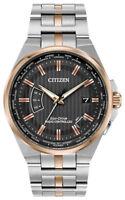Citizen Eco-Drive Men's Perpetual A-T World Time Black Dial Watch CB0166-54H